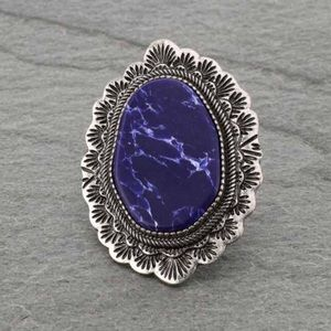 Western Style Large Stone Stretch Ring